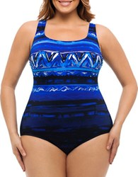 Longitude Plus Havana Cabana Printed One Piece Swimsuit Blue