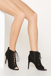Forever 21 Peep Toe Lace Up Booties