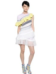 Peter Pilotto Embroidered Ruffled Lace And Chiffon Dress
