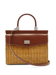 Rodo Wicker And Leather Box Bag Brown