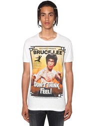 Dsquared Slim Bruce Lee Printed Jersey T Shirt White