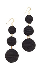 Kenneth Jay Lane Triple Tier Drop Earrings Black