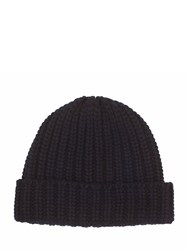 Johnstons Of Elgin Cashmere Chunky Luxe Rib Hat Black