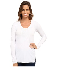 Mod O Doc Long Sleeve Pintuck Hooded Tunic White Women's T Shirt