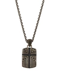 John Hardy Men's Bedeg Black Sapphire Cross Dog Tag Necklace 26 L