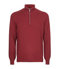 Brunello Cucinelli Half Zip Cashmere Jumper Male Red