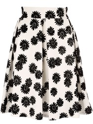 Jane Norman Box Pleat Daisy Skirt White