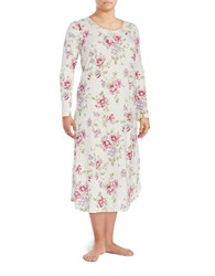 Carole Hochman Plus Floral Nightgown White