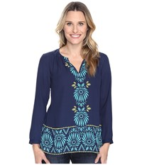 Hatley Long Sleeve Blouse Porcelain Floral Navy Women's Blouse Blue