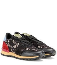Valentino Rockrunner Lace Leather And Suede Sneakers Multicoloured