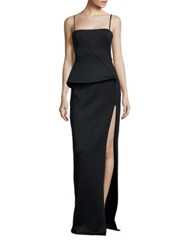 Black Halo Tia Neoprene Peplum Gown Black