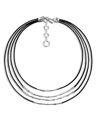 John Hardy Bamboo Sterling Silver Four Row Necklace On Leather Cord 16 Black Silver