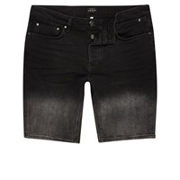 River Island Mens Black Denim Faded Shorts