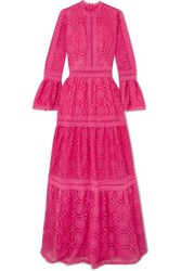 Costarellos Rosseta Lace Trimmed Embroidered Tulle Gown Fuchsia