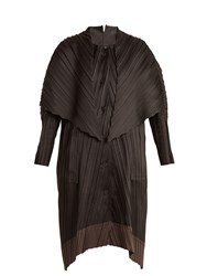 Issey Miyake Contrast Panel Pleated Coat Black Grey