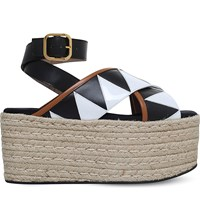 Marni Criss Cross Leather Wedge Sandals Blk White