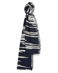 Jaeger Texture Woven Scarf Blue