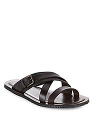 Saks Fifth Avenue Made In Italy Leather Stripped Slide Sandals Brown