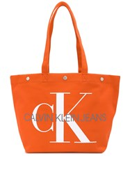 Ck Calvin Klein Jeans Utility Tote Bag Orange