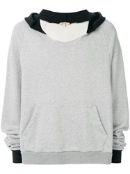 Yeezy Distressed Oversized Hoodie Cotton Grey
