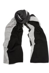 Magaschoni Color Block Cashmere Scarf Black