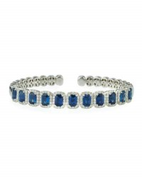 Diana M. Jewels 18K White Gold Sapphire And Diamond Bangle Bracelet 1.78Tcw