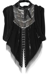 Alexander Wang Embellished Lace Paneled Silk Georgette And Chainmail Top Black