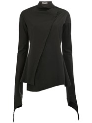 Aganovich High Neck Flared Blouse Black