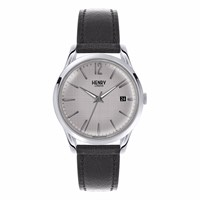 Henry London Unisex 39Mm Piccadilly Leather Strap Watch Black Grey