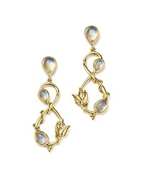 Temple St. Clair 18K Yellow Gold Double Leaf Royal Blue Moonstone Earrings White Gold