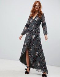 Hope And Ivy Long Sleeve Wrap Front Maxi Bridesmaids Dress In Floral Print Green Floral Multi