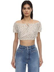 Bec And Bridge Cropped Printed Cotton Top Ivory