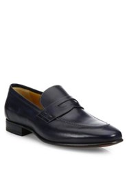 A. Testoni Antiqued Delave Slip On Leather Shoes Navy
