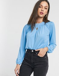 Pieces Blouse With Balloon Sleeves In Blue
