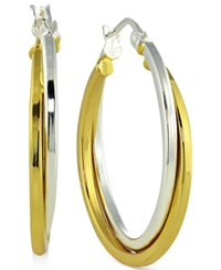 Giani Bernini Two Tone Twist Hoop Earrings In 18K Gold Plated Sterling Silver Only At Macy's Two Tone