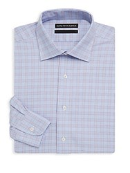 Saks Fifth Avenue Black Checkered Cotton Dress Shirt Blue