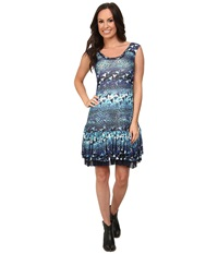 Roper 9757 Leopard Floral Printed Mesh Dress Blue Women's Dress