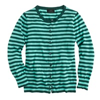 J.Crew Collection Featherweight Cashmere Cardigan In Tonal Stripe Pine Aqua