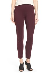 Halogenr Petite Women's Halogen Side Zip Ponte Ankle Pants Burgundy Stem