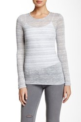 Bcbgeneration Long Sleeve Microstriped Tee Gray