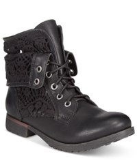 Ziginy Rock And Candy Spraypaint Cuffed Lace Combat Booties Women's Shoes Black Crochet