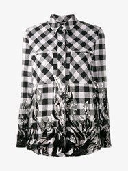 Filles A Papa Flame Sequin Embellished Check Shirt Black Flame Silver Grey Denim