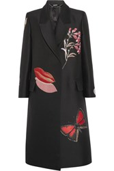 Alexander Mcqueen Oversized Embroidered Silk Blend Jacquard Coat Black