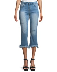 Evidnt Frayed Ankle Light Wash Jeans Blue