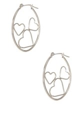Candela 14K White Gold Oval Captured Heart Hoop Earrings Metallic