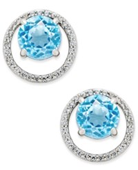 Macy's Gemstone 1 1 2 Ct. T.W. And Diamond 1 6 Ct. T.W. Round Halo Birthstone Stud Earrings In Sterling Silver Blue Topaz