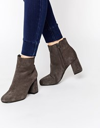 Warehouse Suede Heeled Ankle Boot Grey