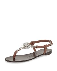 Giuseppe Zanotti Flat Jeweled Flat Thong Sandal Dark Brown Size 40.5B 10.5B
