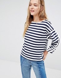 I Love Friday Long Sleeve Top With Frill Detail In Breton Stripe Navy