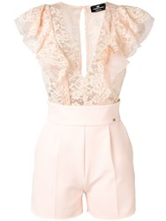 Elisabetta Franchi Lace Embroidered Playsuit Pink